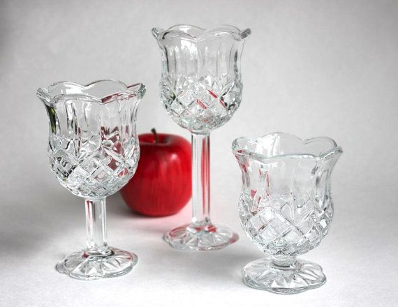 Tulip Stem Votive Candle Holder Set, Vintage 3 Piece HOMCO Home Interiors  Pedestal Diamond Crystal Cut Glass Stemware