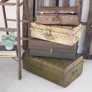 Rustic Metal Antique Suitcase, Set of 4