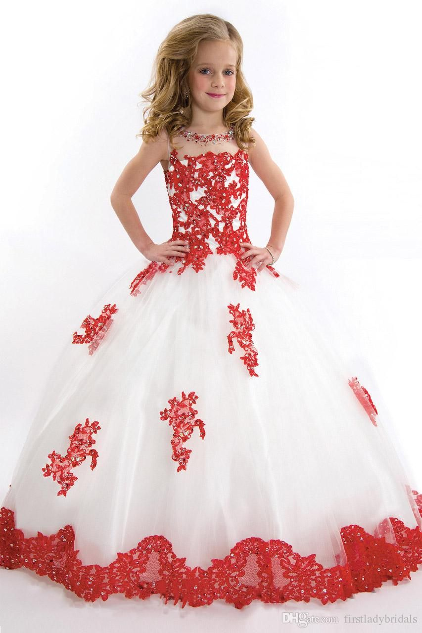Kids Ball Gowns Pageant Girls Dresses White Tulle Red Lace Flowers ...