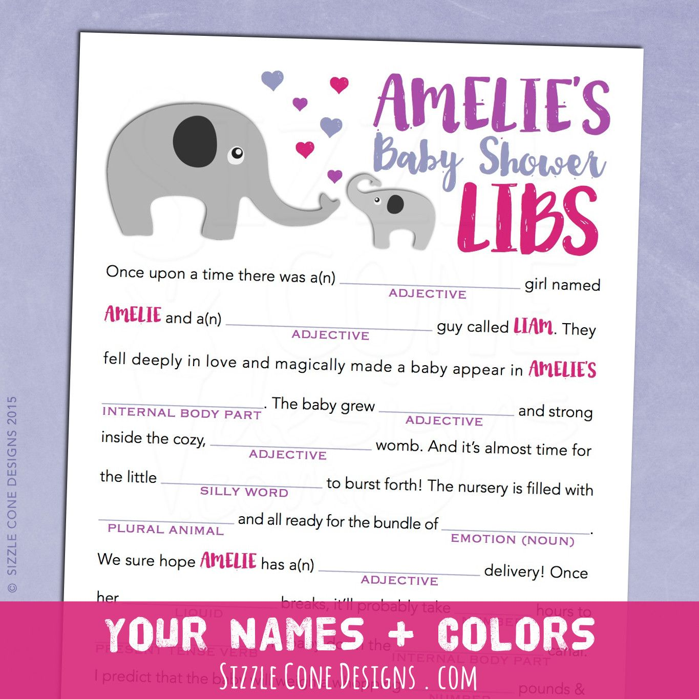Elephants Baby Shower Mad Lib Game   Personalized Printable