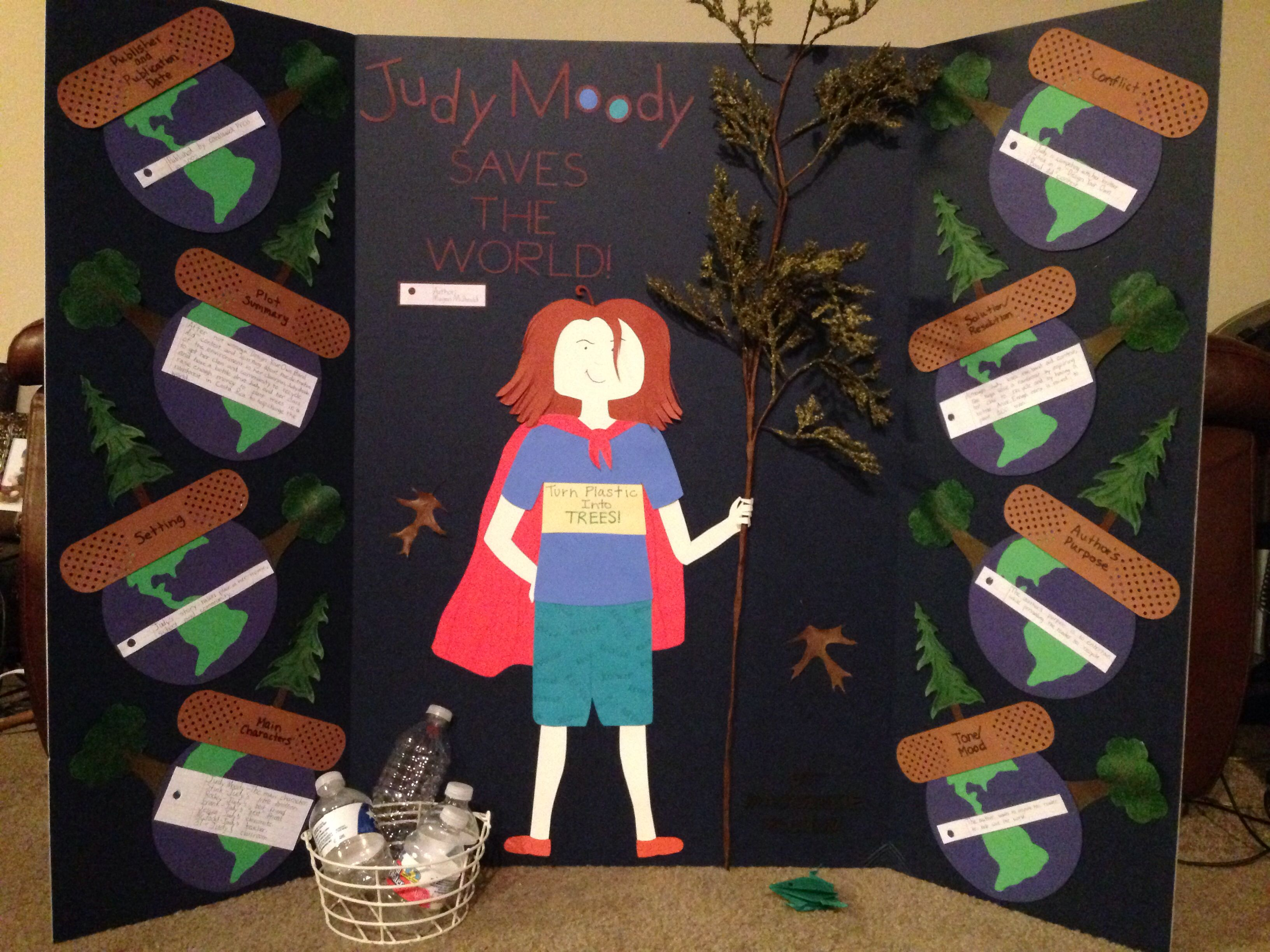judy moody saves the world tri fold book report project