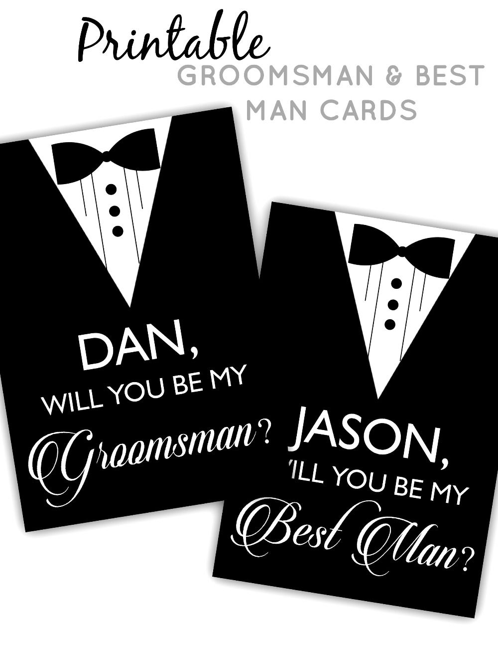 Printable Groomsman Best Man Cards Groomsman Gifts Cards Be My Groomsman