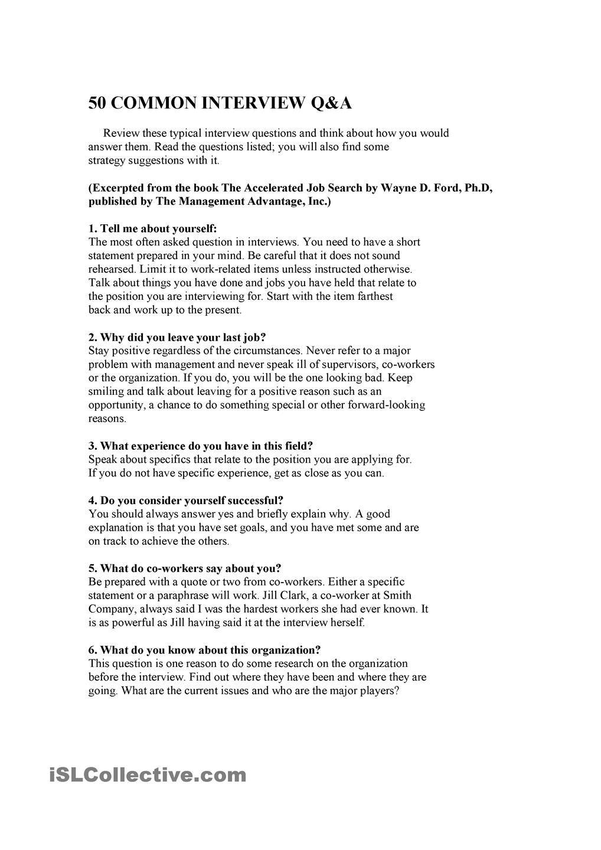 Job Interview Questions Job Interview Questions Job Interview Interview Questions
