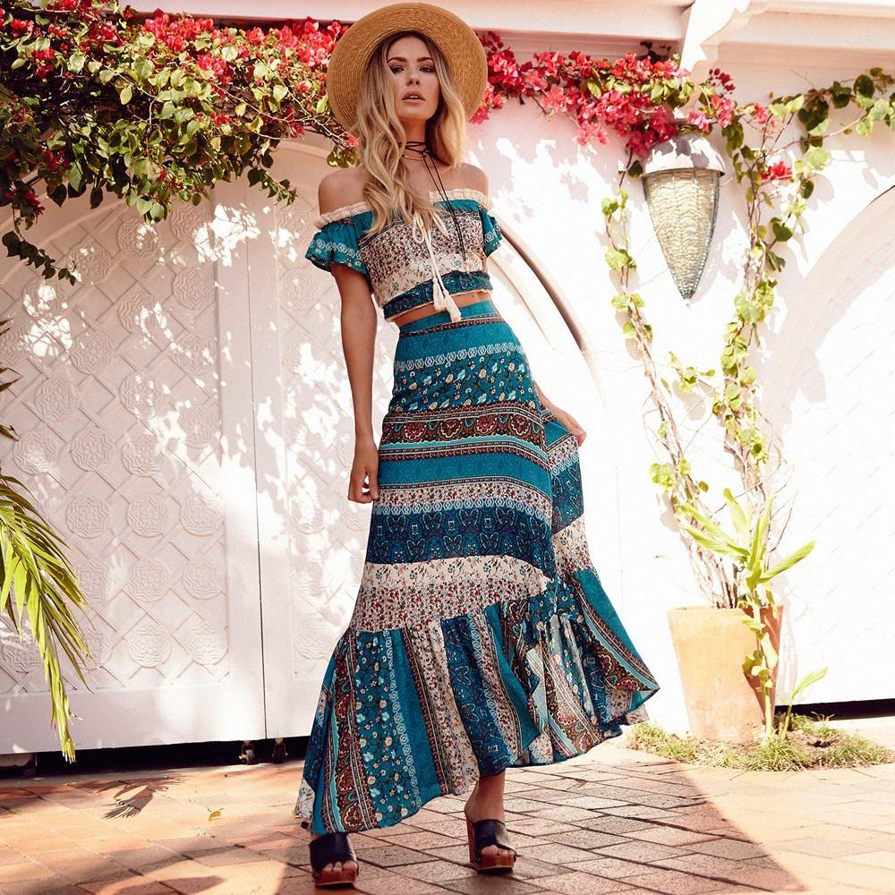 6d0bb4e459c2c Nostalgia Two Piece Bohemian Skirt Suit Hippie Boho in 2019   Ropa ...