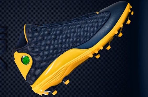 Air Jordan 13 Cleat Pe For Michigan Football Jordan Cleats Air Jordans Michigan Football