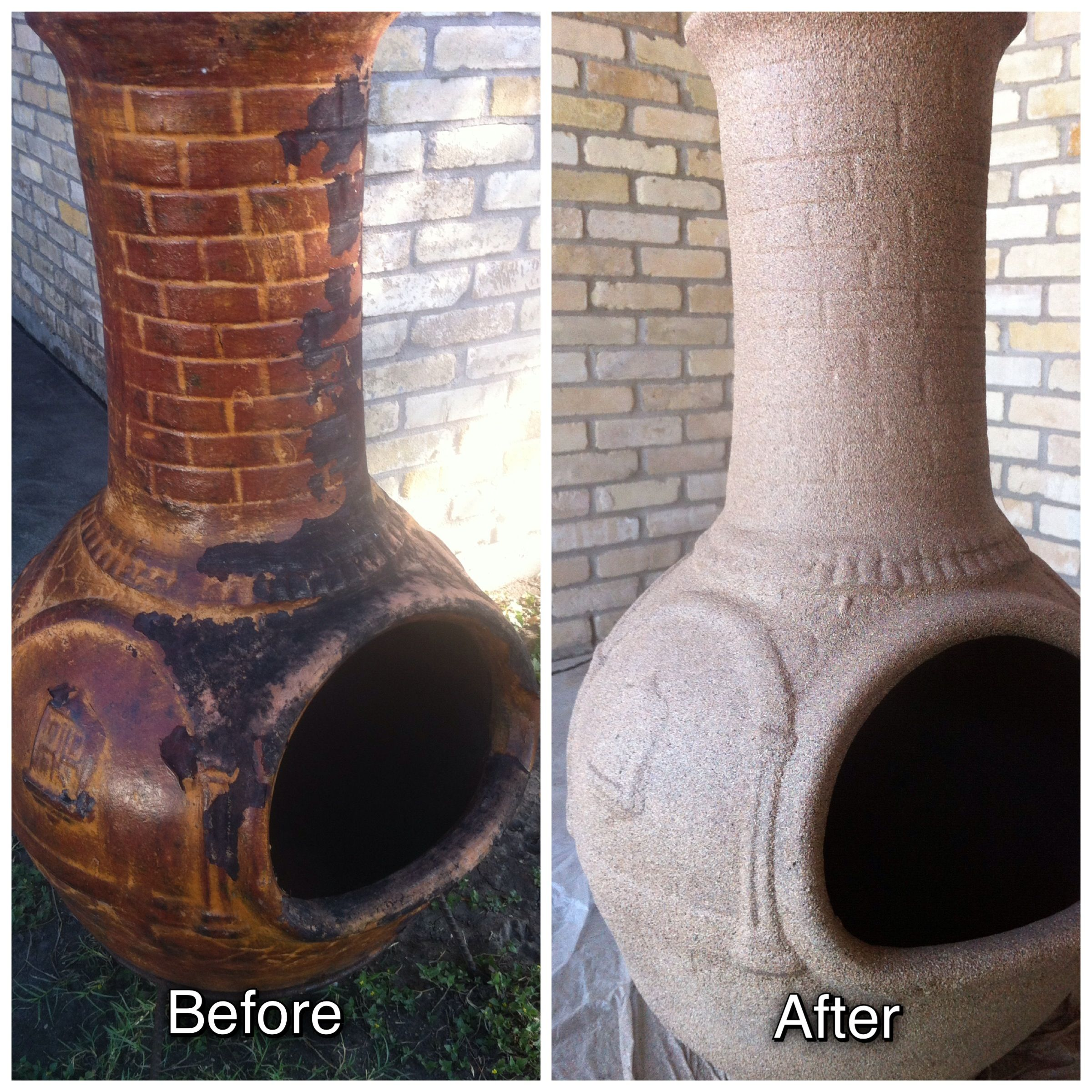 painted my ugly chiminea using rust oleum stone textured finish