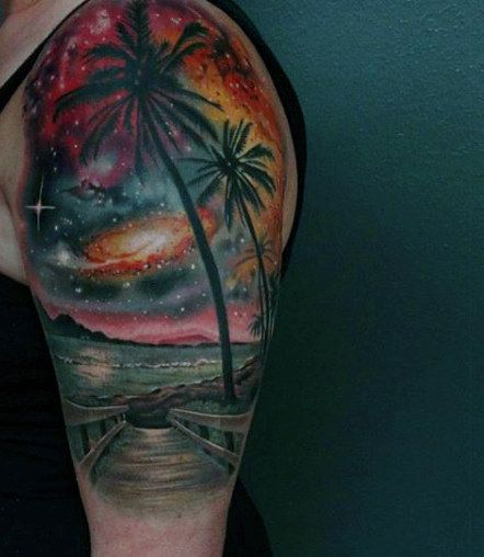 tattoos of the ocean and beach on guys arm tattoo pinterest ocean tattoo and color tattoo. Black Bedroom Furniture Sets. Home Design Ideas