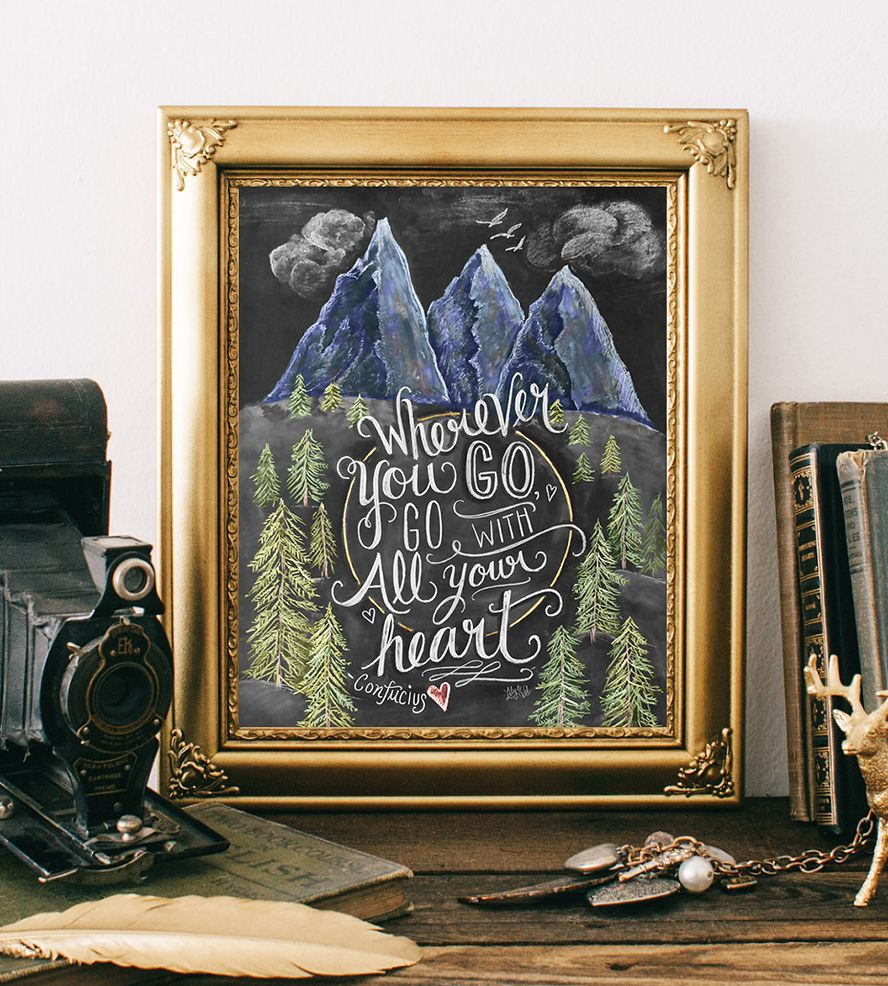 Wanderlust Chalkboard Art Print by Lily & Val on Scoutmob