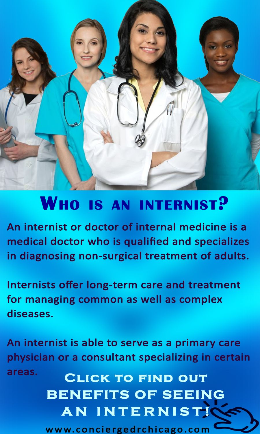 """The term """"internist"""" is commonly, and mistakenly, associated with ..."""