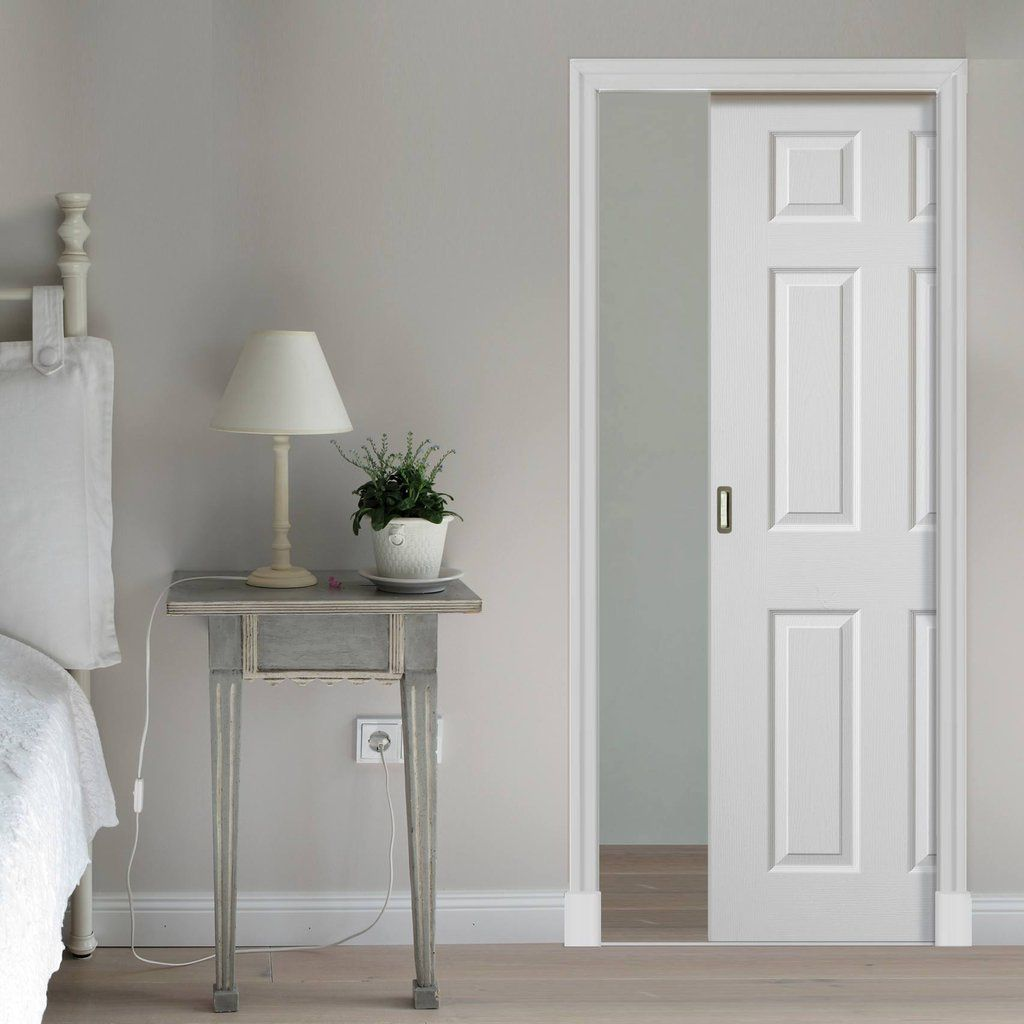 Single Pocket Colonist White sliding door system in three size widths. #panelledpocketdoor #whiteslidingdoor #elegantslidingdoor & Colonist White Single Pocket Door | Sliding door systems Sliding ...