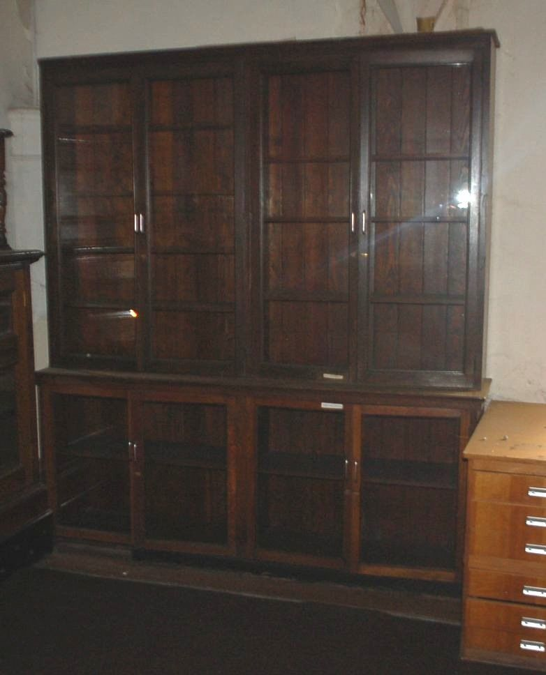 1 Large Antique Ex Library Solid Oak Display Glazed Bookcase With 8 Doors