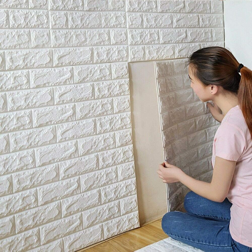 Brick 3d Wall Panels Peel And Stick Wallpaper For Tv Sofa Background Wall Decor White 30 3 X27 6 Walmart Com Wall Stickers Brick Diy Wall Stickers Brick Wallpaper