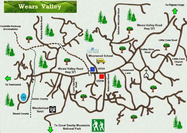 A nice and colorful map of Wears Valley in the beautiful smoky