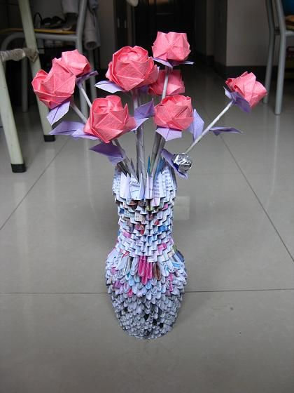 3d Origami Recycle Magazine Vase Art And Crafts Pinterest