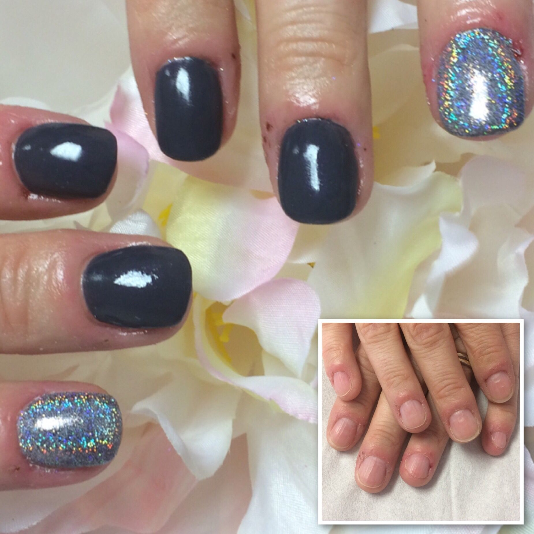 Short Sculptedextensions Using Hand Nail Harmony Polygel From Nailharmonyuk Gelish With Jetset And Aurigaglitter From Th With Images Polygel Nails Nails Nail Harmony