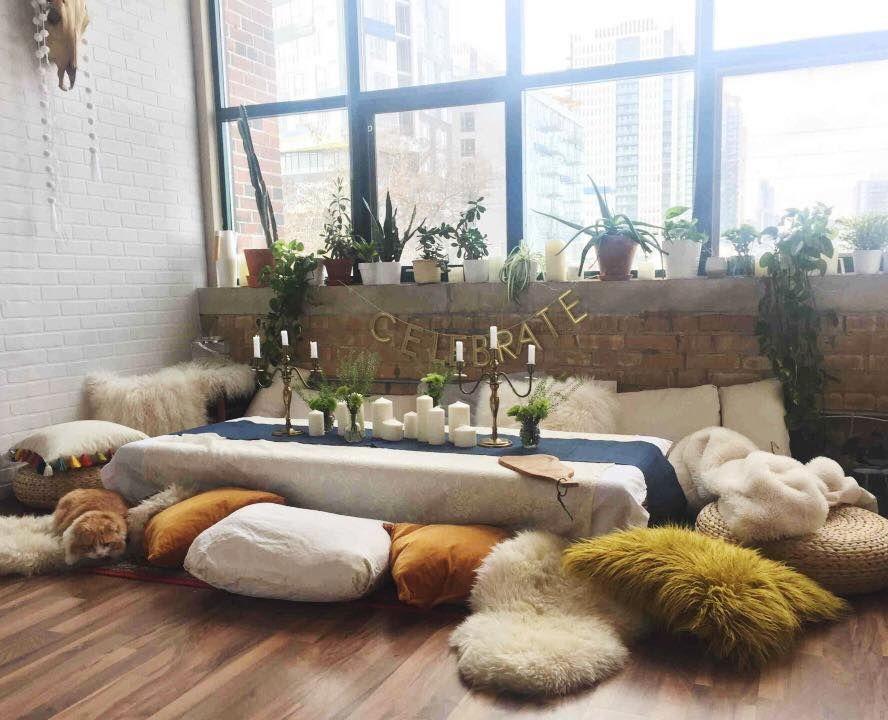 Floor Seating Dinner Party Brunch Boho Loft Floor Seating Boho Dining Room Dining Room Floor
