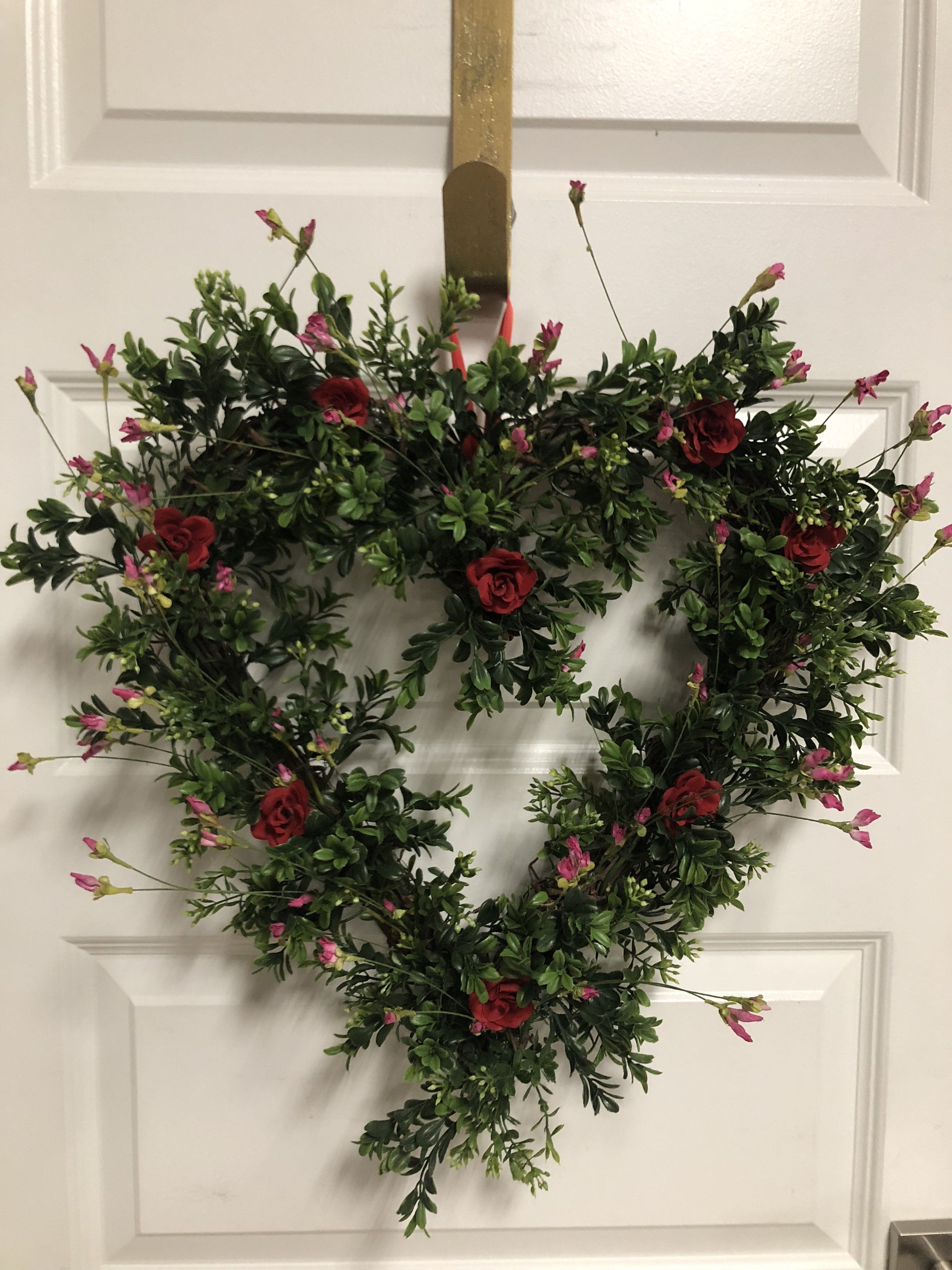 Photo of Roses are Red Boxwood Heart Wreath
