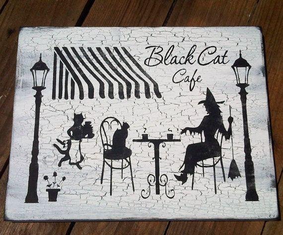 Halloween Sign Halloween Witch Decor BLACK CAT Happy Hallowe\u0027en