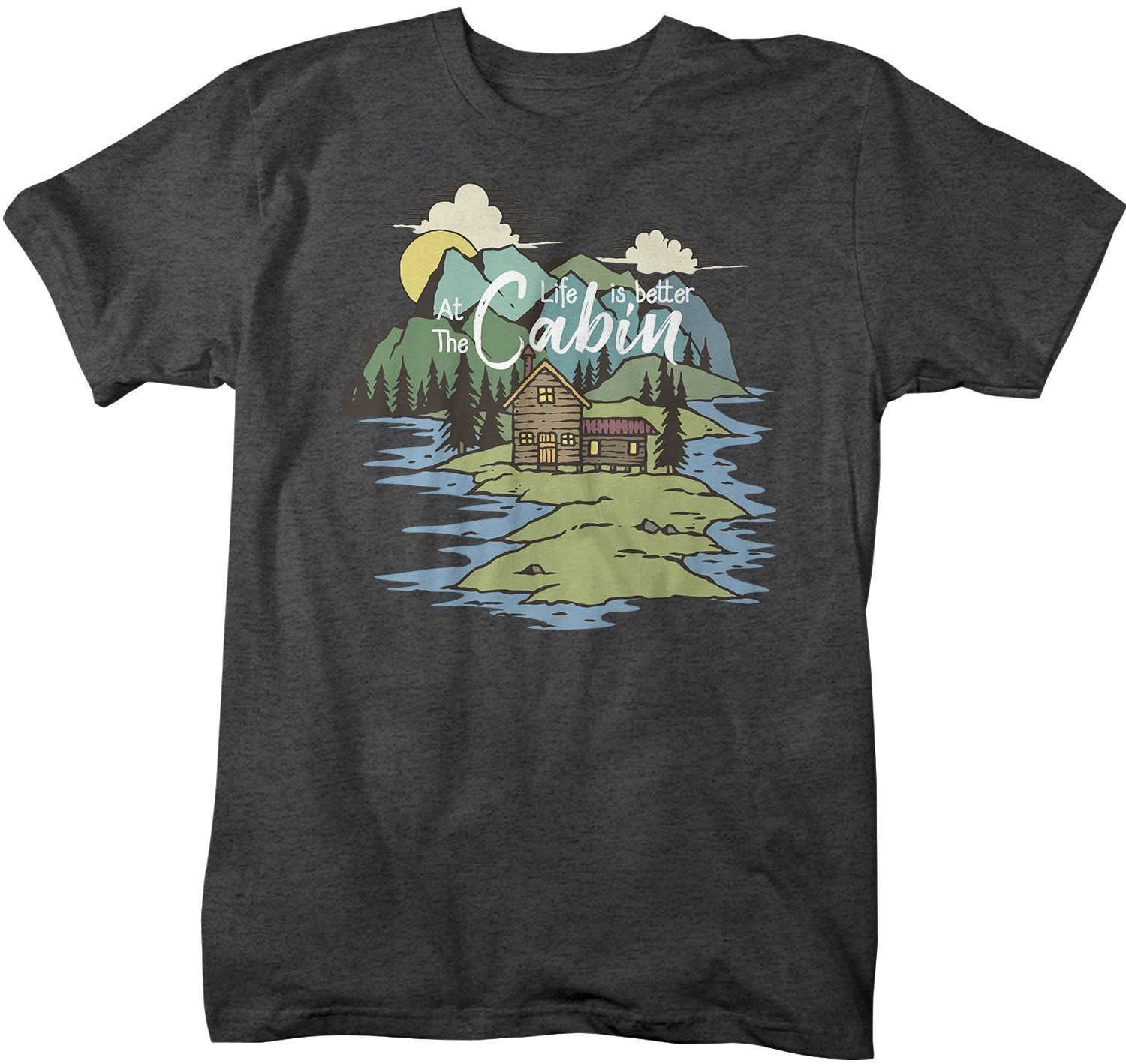 Men's Nature T-Shirt Life Is Better At Cabin Shirt Wanderlust Tshirt Camping Shirts Illustration Shirt – ESTAMPAS