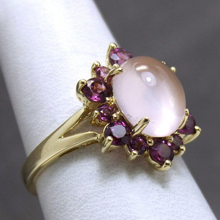 Vintage 4.5TCW Moonstone and Rhodolite Garnet Flower Ring by JMPierceJewelry on Etsy https://www.etsy.com/listing/189043956/vintage-45tcw-moonstone-and-rhodolite