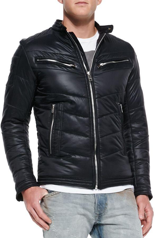 Diesel Jurvi Padded Nylon Moto Jacket, Black Mens Wool Coats, Mens  Overcoat, Mens 95af71aa8f