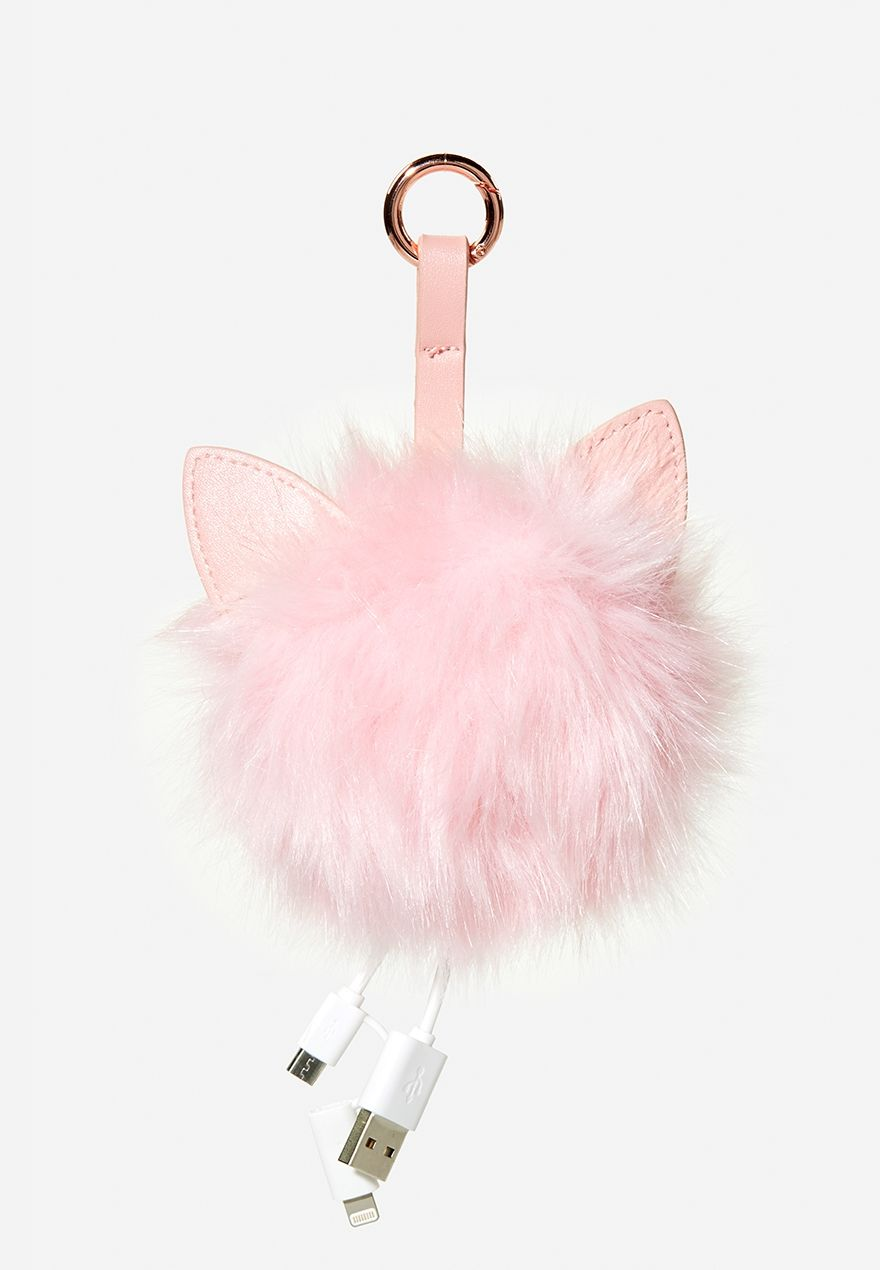 Phone Charging Cat Ear Fur Pom  b04ca647e8db