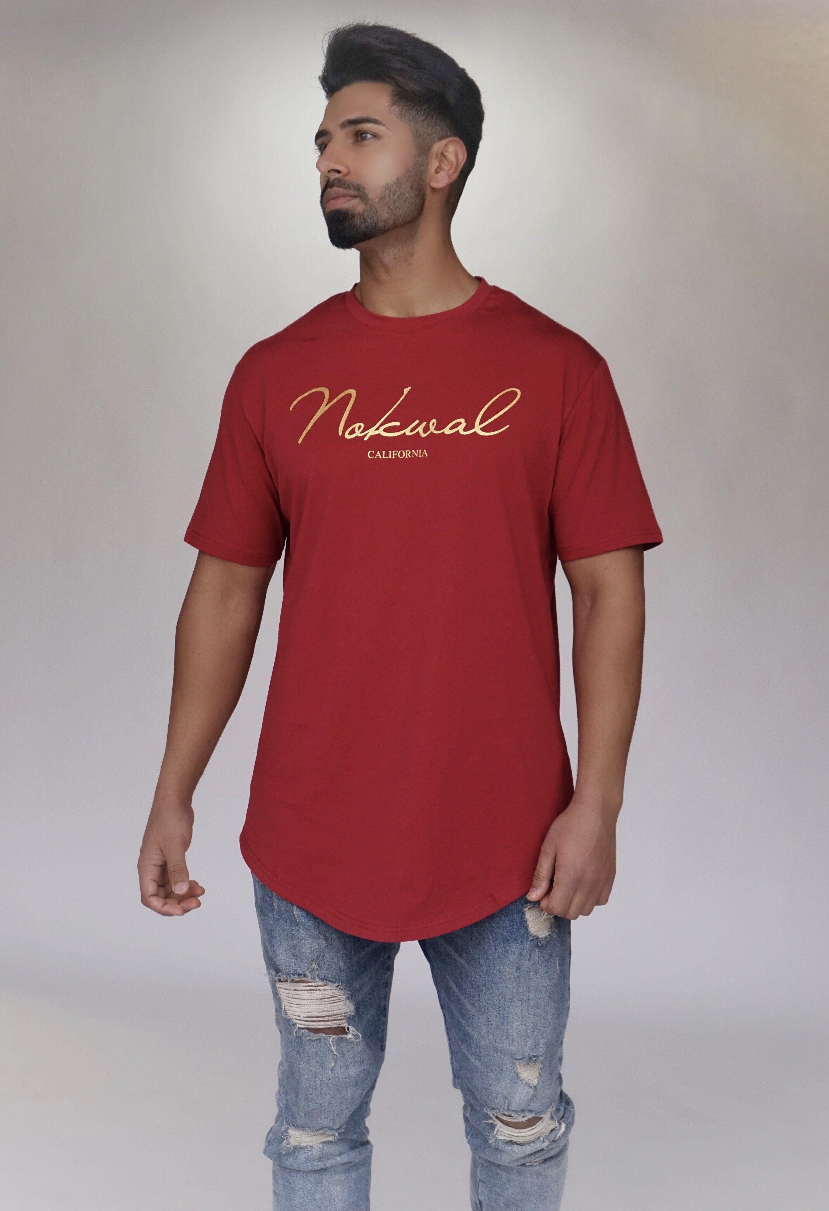 6b9f95a9 Nokwal Golden Signature T-Shirt - Maroon | clothes | T shirt, Shirts ...