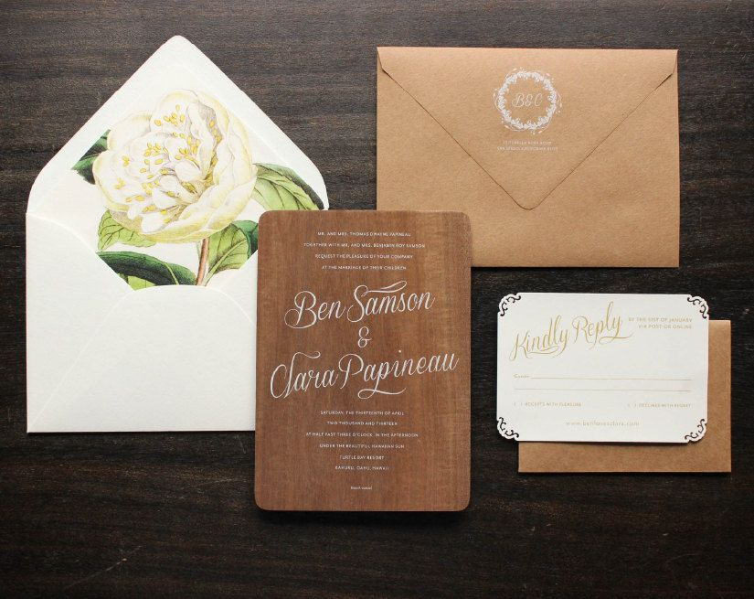 Real Wood Wedding Invitations With White Ink By Oakandorchid 14 00