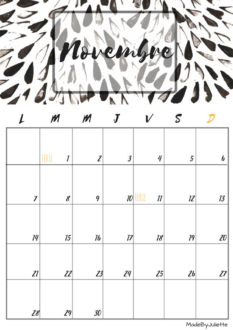 Calendrier novembre 2016 imprimes le calendrier pour customiser ton agenda a voir ma - Mois du blanc 2017 ...