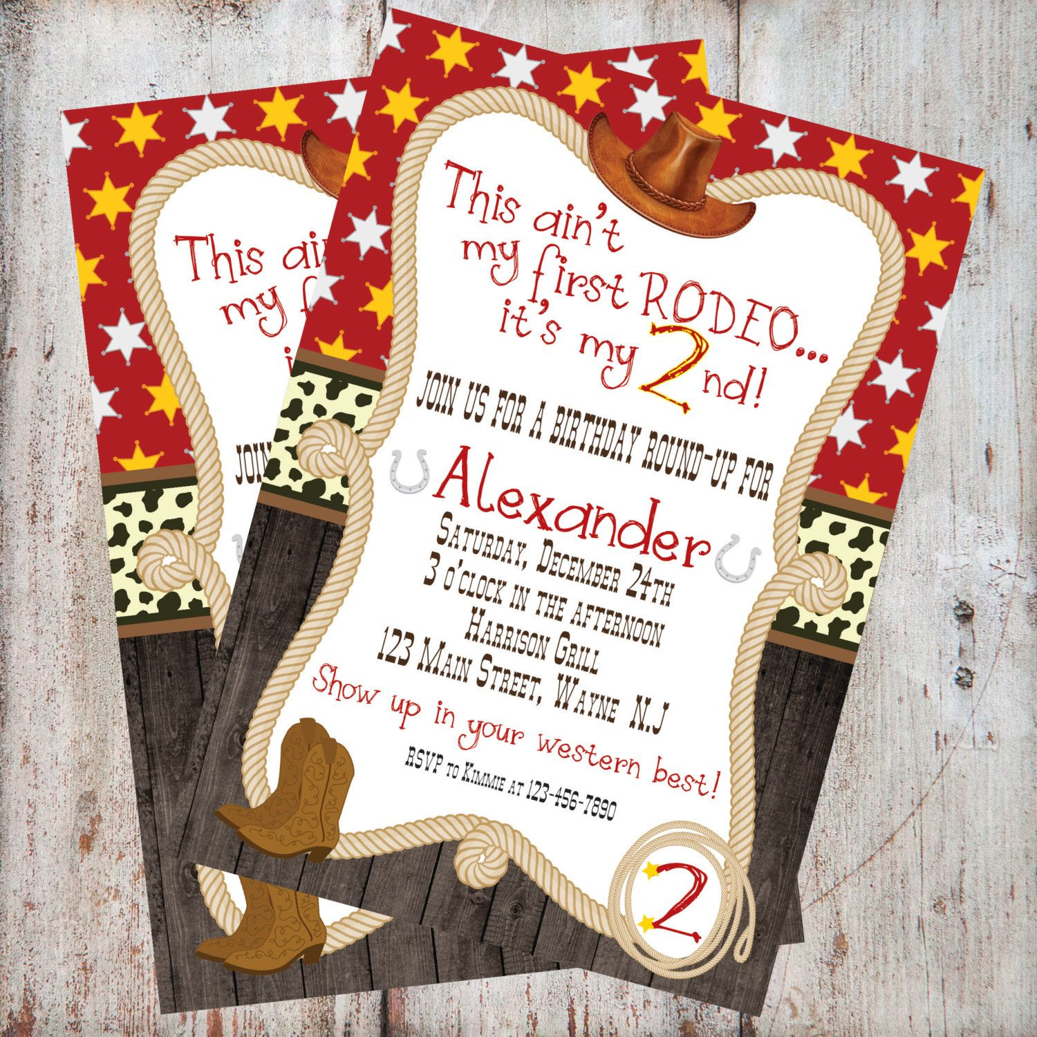 Free Thank You Card Included *CowBOY, Western, Rodeo Theme, First ...