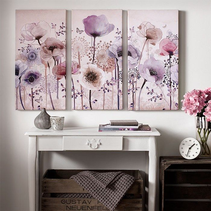 Classic Poppy Trio Floral Canvas Purple Flower Wall Art By Graham Brown Wall Canvas Canvas Wall Art Floral Wall Art