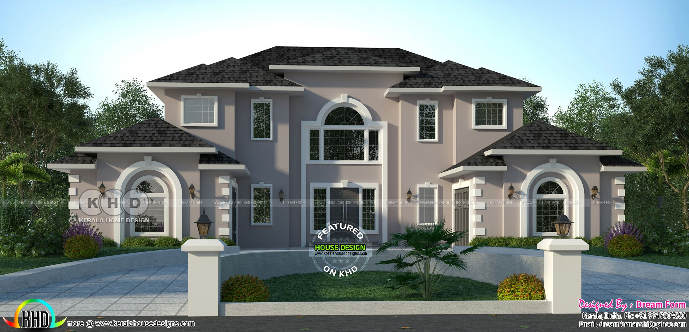 5 Bedroom 3322 Sq Ft American Style Modern Home Design House Plans Mansion House Design Modern House Design