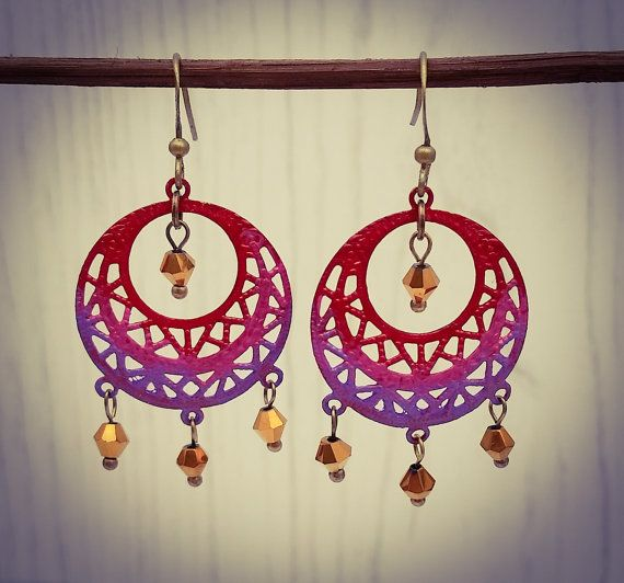 Hand Painted Red Pink and Purple Ombre Bronze by BourneBling