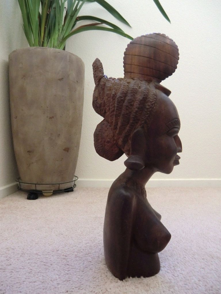 Final listing african carved wood bust nude fulani