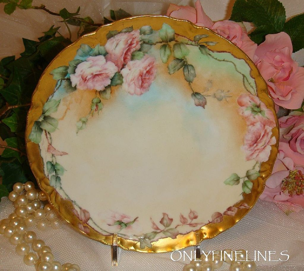 Lovely Haviland Limoges Plate with Hand Painted Pink Roses & Lovely Haviland Limoges Plate with Hand Painted Pink Roses ...