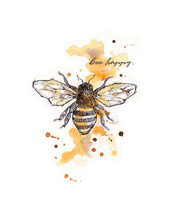 Photo of bee happy, bee art, bee print, bee watercolor, watercolor home decor, bee wall art, nursery yellow, bee, bee image, bee happy print