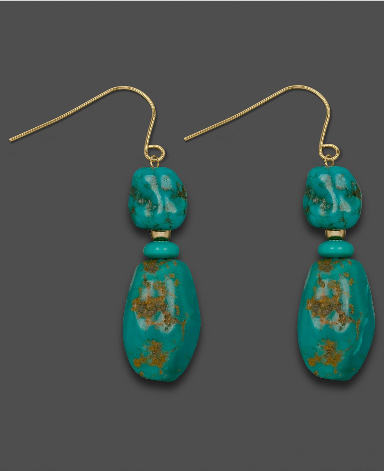 14k Gold Earrings, Turquoise Chip Drops - Earrings - Jewelry & Watches - Macy's