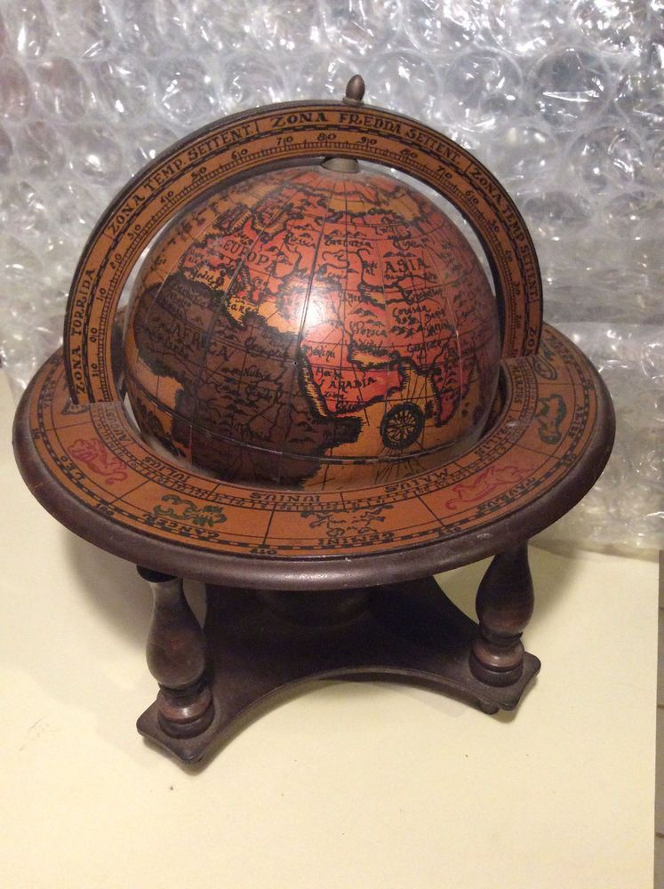Vintage Old World Zodiac Wood Table Top Globe Made In Italy Astronomy