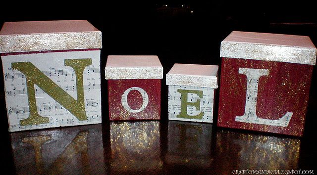 Dollar Store Crafted NOEL boxes w/ tutorial.