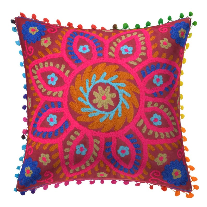 Colorful Suzani Cushions Cover.Colorful Woolen Embroidered Pillow Cover.Embroidered Cushion Cover.Mexican Pillow Cases