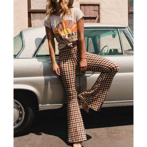 Vintage Plaid High Waist Bell Bottom Long Flare Pants - BeFashionova