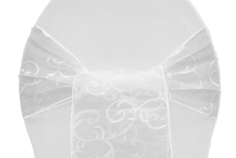 Embroidery Swirl Chair Sash Tie White Chair Sashes