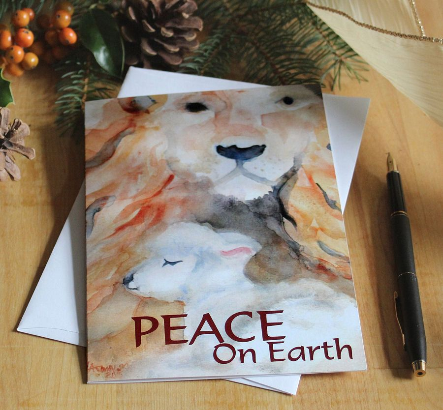 Christmas Cards Lion and Lamb Watercolor Holiday Greeting Card Set ...