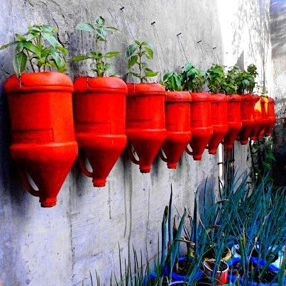 Bold recycled plant containers hard landscape pinterest plants gardens and garden projects - Recycled containers for gardening ...