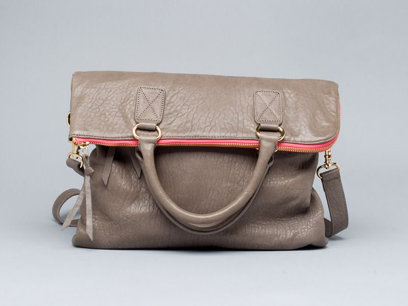 leather foldover handbag... love the pop of color with the zipper