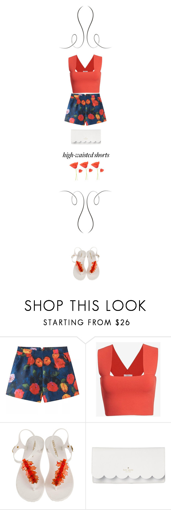 """""""Poppy."""" by francesca-belotti ❤ liked on Polyvore featuring A.L.C., Dsquared2, Kate Spade and highwaistedshorts"""