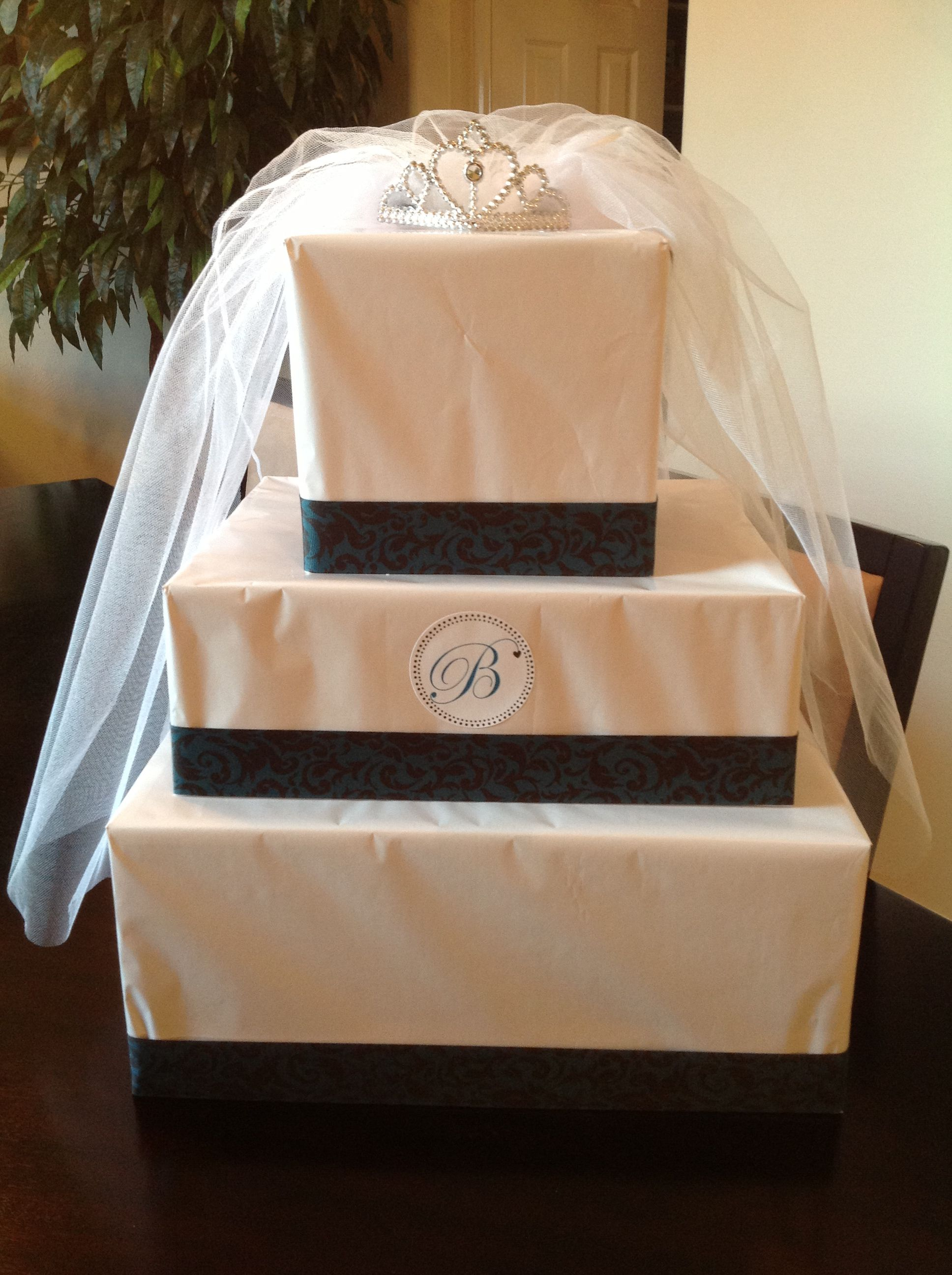 bridal shower gift wrapping idea gift made to look like a cake