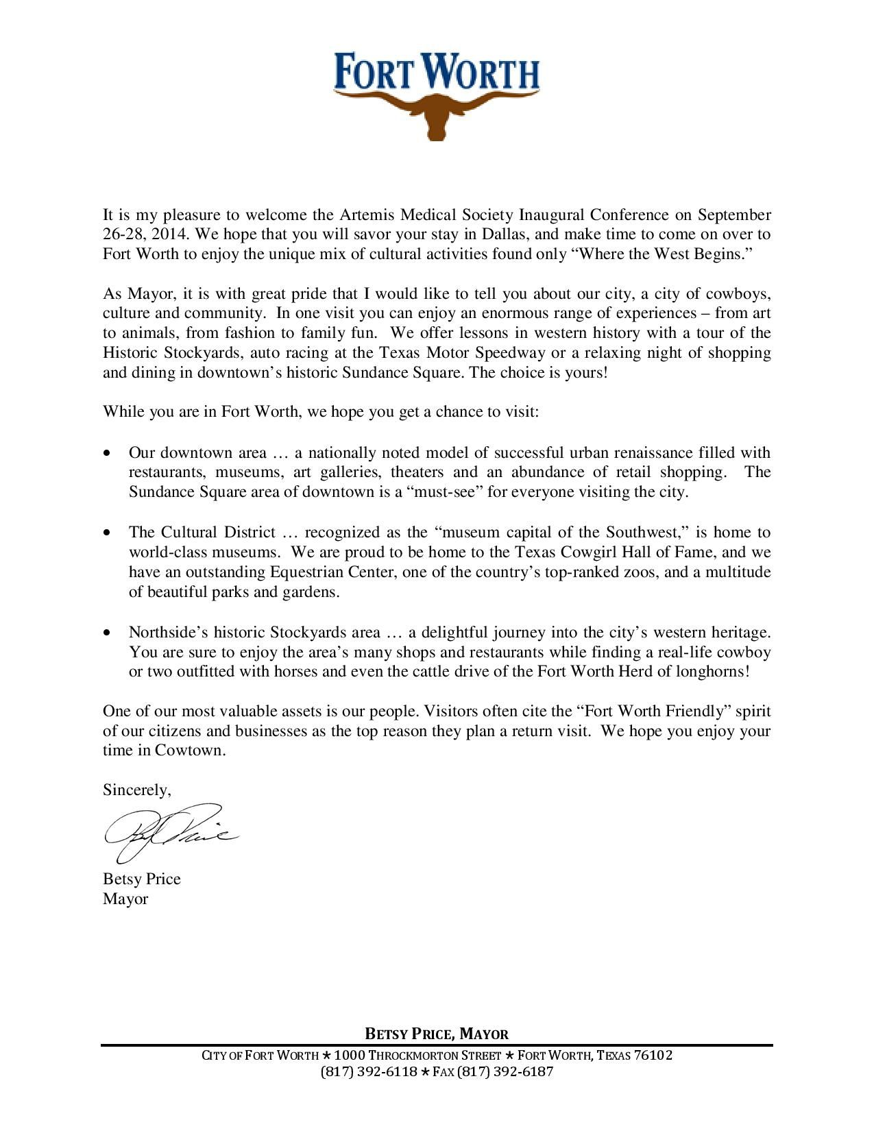 Welcome Letter From Fort Worth Mayor Betsy Price Artemis – Welcome Letter