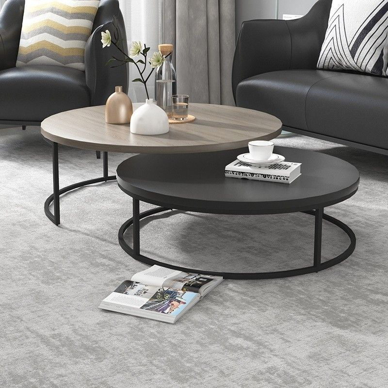 Modern Round Nesting Coffee Table 2 Piece Extendable Gray Black Living In 2020 Table Decor Living Room Round Coffee Table Living Room Coffee Table Living Room Modern