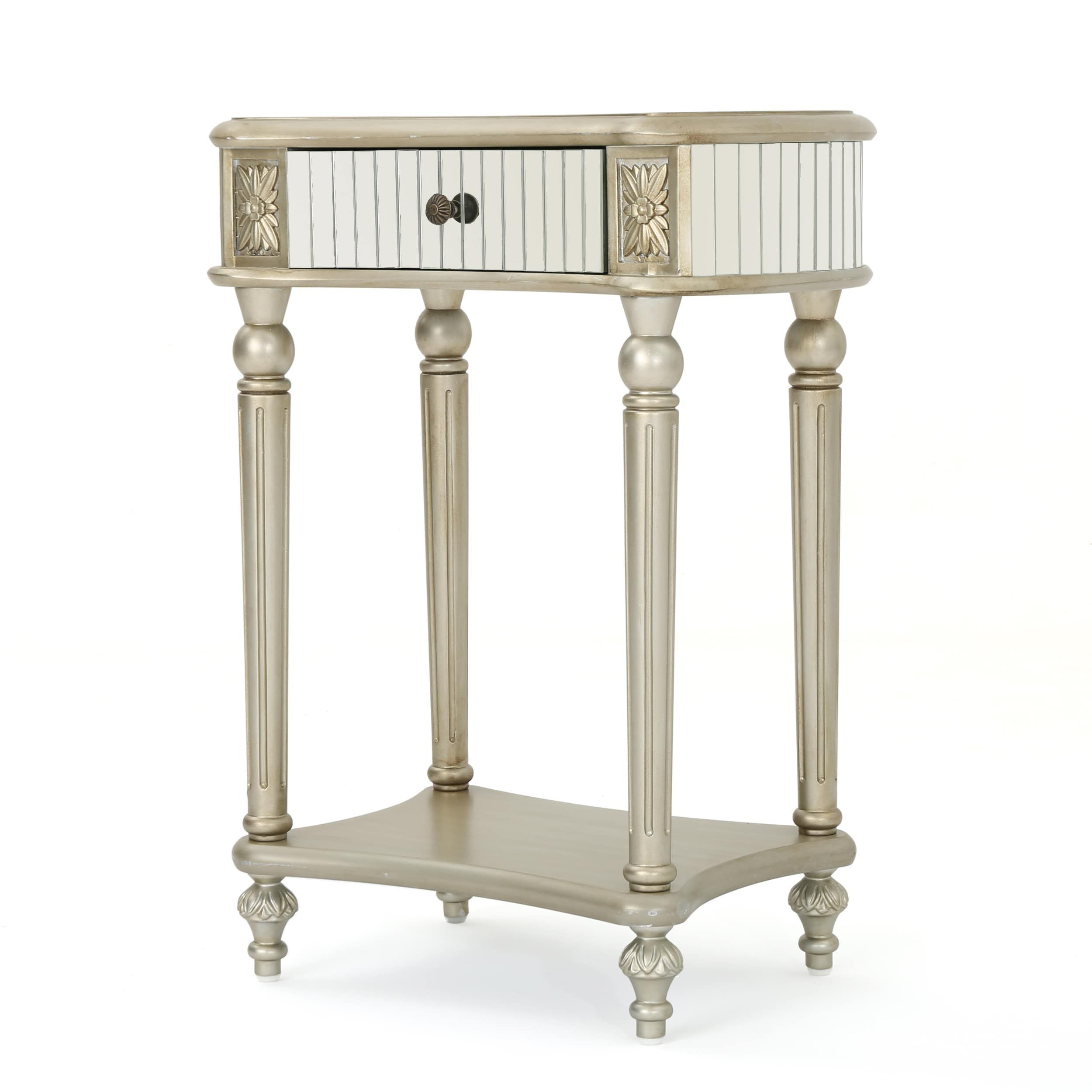 mirrored side table. Kakia Mirrored Side Table By Christopher Knight Home (Silver)
